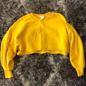 cinq á sept yellow cropped sweatshirt
